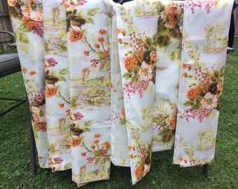 Vintage Mid Century 50s Atomic Six Panels Fiberglass Floral  Oriental Orange Green White Pinch Pleat Drapes  62 x 25 Inches