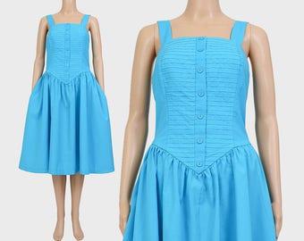 Vintage 70s does 50s Sundress | Sky Blue Dress | Full Skirt | Summer Midi Dress | Rockabilly Retro Dress | Cotton Blend | Small Medium S M