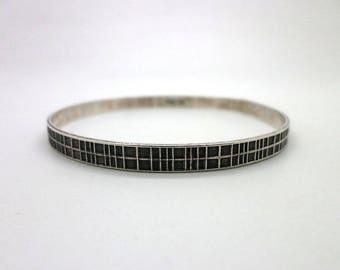 Danecraft Bangle Bracelet Vintage Sterling Silver Great Modern Design with Texture