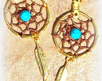SALE Dream catcher Earrings Gold, Turquoise, dreamcatcher earrings, turquoise earrings, zen, boho, tribal, southwestern, native american, Ch