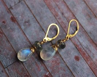Moonstone and Labradorite Gold Filled Leveback Earrings