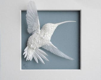 Paper Hummingbird Sculpture Art Dancer Ready to Ship
