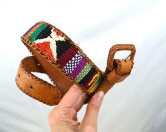 Vintage Leather Guatemalan Rainbow Tooled Woven Fabric Belt - Size 28