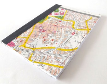 Cardiff Central - Cardiff Street Map 1984 #3 - Recycled Vintage Map Handbound Notebook with Upcycled Blank Pages