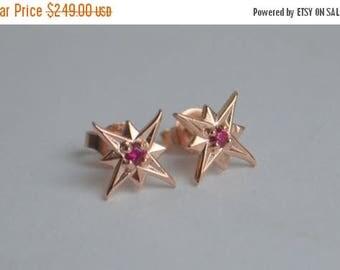 SALE Rose Gold Ruby Studs, star earrings, star studs, ruby earrings, gemstone earrings, rose gold stars, Christmas gifts, Christmas earrings