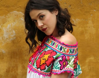 Hand embroidered Juquila peasant blouse