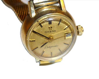 OMEGA Ladymatic Wristwatch. Vintage  1960s Watch for Lady. Swiss Made 10k Gold Filled. Automatic Movement. Date. Working.