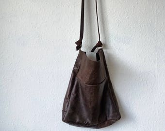 Leather bag dark brown hand stitched his hers traditional classic adjustable straps handbag shopper tote natural rustic minimal bohemian eco