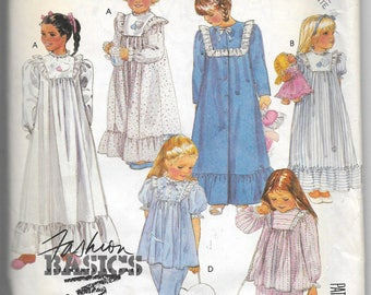 Uncut, Child Size 8-10, Sewing Pattern, McCalls 2777, Girl, Gown, Nightgown, Pajamas, Robe, Booties, Heart Tote Bag, Lace, Trim, Applique