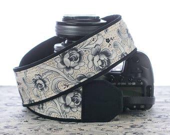 dSLR Camera Strap, Roses B&W, SLR Camera strap, Quick Release, Pocket, Camera Neck Strap, Mirrorless camera, Canon, Nikon, 178