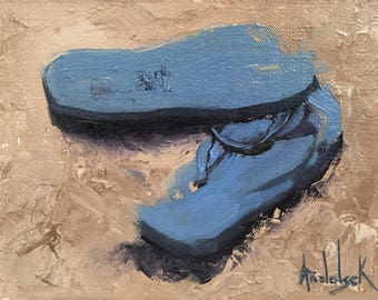 Flip Flops Sandals Painting, Beach Decor, Beach Art, Sea Art, Ocean Art 'Flip Flops' by AndolsekArt