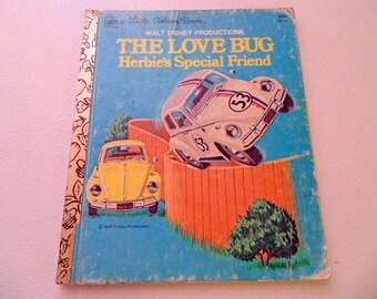 The Love Bug Herbie's Special Friend, Walt Disney, Little Golden Book, Herbie 53, Volkswagen, White car, Children's book, 1976 edition