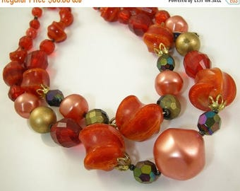 45% off Sale West Germany Plastic Double Strand Necklace Red Orange Beads New Old Stock