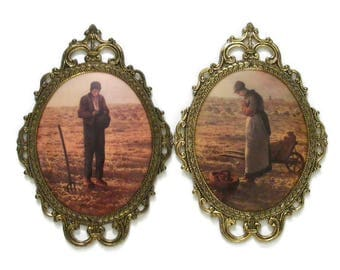 Ornate Oval Metal Frames with Convex Glass Prints by Jean-Francois Millet Titled The Angelus or Prayer for the Potato Crop