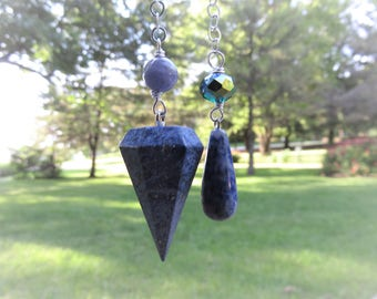 Dumortierite Pendulum with Crystal,Tanzanite and Sodalite Beads, Sterling Chain