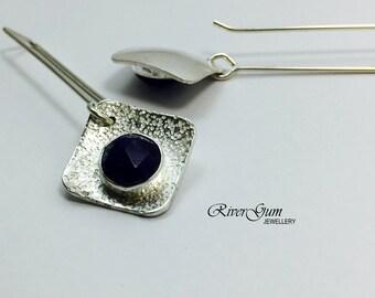 Sapphire Earrings, Long Silver Sapphire Earrings, Long Gemstone Earrings, Square Earwires, Metalsmith Jewelry