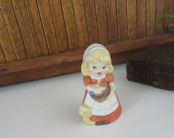 Blonde Baking Girl with Kitten Bell - Girl in Red Dress & White Apron with Mixing Bowl and Orange Kitten - Vintage Jasco Collectible Bell