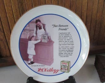 Toasted Corn Flakes – Just Between Friends – Kellogg's Nostalgia Collection Porcelain Plate – Vintage Collector Plate with Original Box
