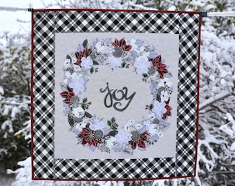 MarveLes COLLAGE KIT & Pattern CHRISTMAS Plaid Please My Minds Eye Riley Blake Plaid Holiday Winter Quilt Wall Hanging Poinsettia Home Decor