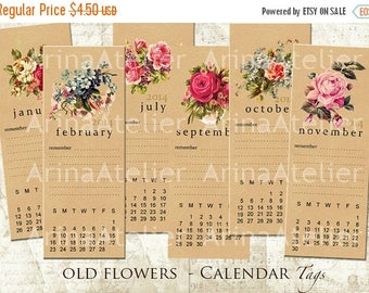 SALE - 30%OFF - Old Flowers Calendar Tags - Bookmarks -  Hang Tags - Vintage Collage - gift Tags, scrapbooking, mixed media, altered art