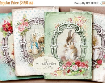 SALE 30%OFF - Vintage Peter Rabbit CARDS - Digital Collage - Beatrix Potter Illustrations - Vintage Collage Sheet - Digital Collage Tags - S