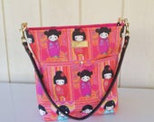RESERVED For Bill A.  - Kokeshi Doll Shoulder Bag with Leather Strap - 8 pockets