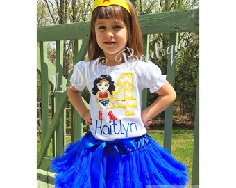 Personalized Superhero shirt - Wonder Woman Applique Shirt with number- Wonder Woman birthday shirt Personalized shirt- Wonder Woman shirt