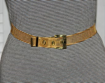 "Vintage Gold Tone Mesh Belt - Fits 33"" - 36"" Waist - L XL - Accessory"
