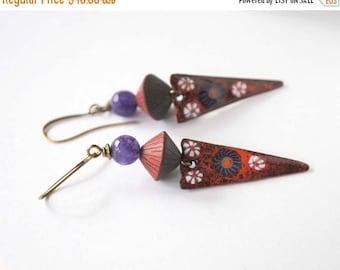 SALE Red Enamel Earrings, Gypsy Boho Earrings, Floral Earrings, Triangle Drop Earrings, Artisan Enamel, Polymer Clay Jewelry, Purple Earring