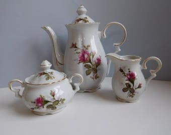 Vintage Moss Rose teapot Moss Rose coffee set Moss Rose tea set