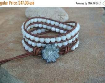 50% OFF SALE Full Moon Mother of Pearl Beaded Natural  Leather Wrap Bracelet
