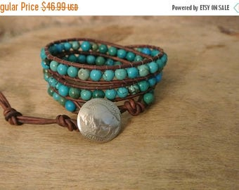 SALE 60% OFF New Mexico Turquoise Leather Beaded Wrap Bracelet