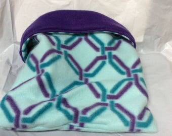 Guinea Pig Size Fleece Sleeping Bag Sleep Sack Cuddle Bed Teal Purple Geometric Print