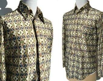 Vintage 70s Disco Shirt Zayre Mens Pop Art Kaleidoscope Print M / L