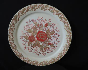 vintage red rose metal tray cream and gold floral huge round tole tray serving tea tray charger