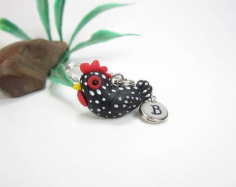 Chicken necklace, speckled chicken jewelry, Initial necklace, personalized necklace, cute unique gift, animal chicken gifts, polymer clay