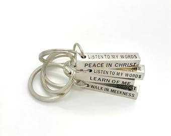 2018 mutual theme gifts, Peace in Christ key ring stamped on 4 sides, LDS youth theme 2018 gifts for Young Men, youth conference, Trek