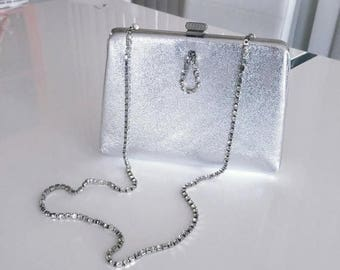 40% OFF Christmas in July Vintage 50's 60's Era Silver Evening Bag with Rhinestone Shoulder Strap -- Glam