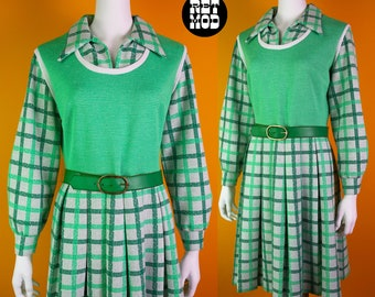 Lovely Vintage 60s 70s Green Plaid Fit and Flare Polyester Dress with Long Sleeves