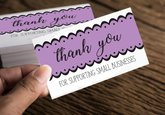 purple thank you card printable package insert gift cards