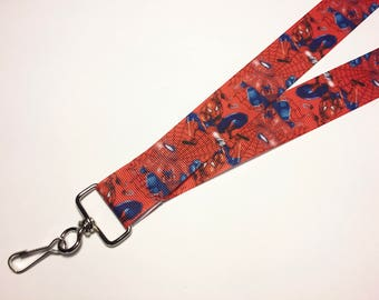 Red and Blue Spiderman ID Lanyard or clip to your cell phone or keys
