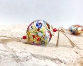 Gold Earrings, Murano Glass Earrings, Red Coral Earrings, Long Dangle Earrings, Colorful Earrings, Gold Red Earrings - Klimt in Gold
