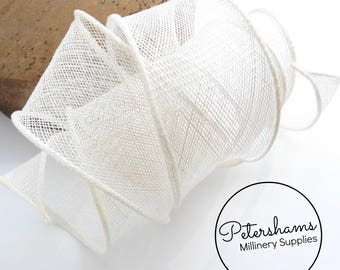 Hand Rolled Sinamay Ribbon Trim for Millinery, Hat Making & Fascinators - White