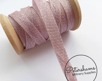 1cm Sinamay Bias Binding Tape Strip (1.6m/1.7yards) for Millinery & Hat Making - Heather Purple