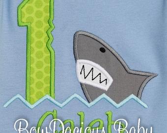 Shark 1st Birthday, First Birthday Outfit, Shark Birthday Shirt, Shark Birthday, Ocean Theme, Birthday Embroidered Shirt, Shark Bite Shirt