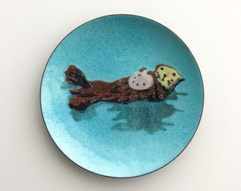 Mid-Century Modern Sea Otter Enamel Dish by AnneMarie Davidson MCM Home Decor Small Tray Ring Dish