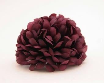 3 Plum Purple Pom Pom Mums -  Artificial Flower Heads, Silk Flowers