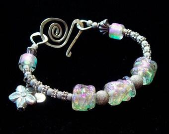 Dichroic Art Glass Bracelet - Sterling Silver & Bali Large Bangle Statement Bracelet, Lavender Ice Queen- Dee Howl Dichro Lampwork, Heirloom