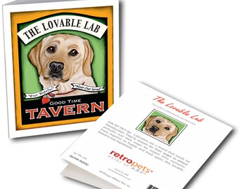 """Yellow Lab Cards  """"Lovable Lab"""" 6 Small Greeting Cards by Krista Brooks"""