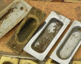 9 Salvaged Vintage Recessed Cabinet Door Pulls Handles Repurpose DIY